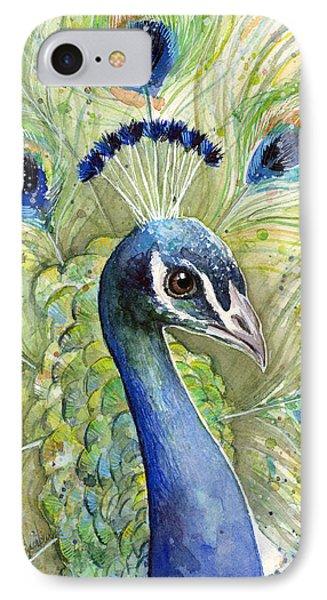 Peacock iPhone 7 Case - Peacock Watercolor Portrait by Olga Shvartsur