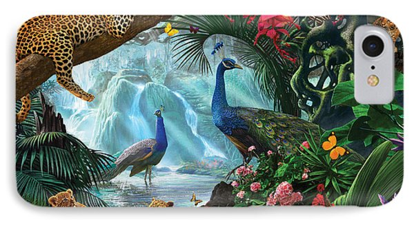 Peacocks And Leopards IPhone Case by Steve Crisp