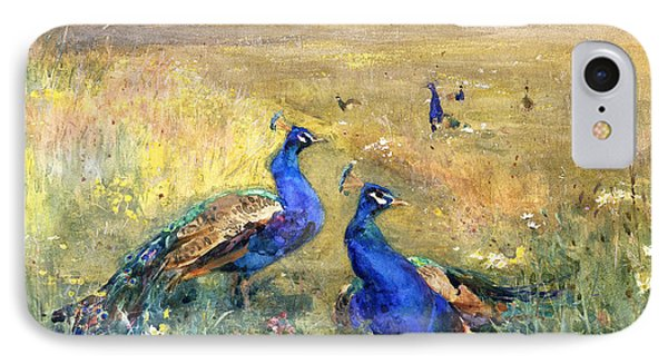 Peacocks In A Field IPhone 7 Case by Mildred Anne Butler