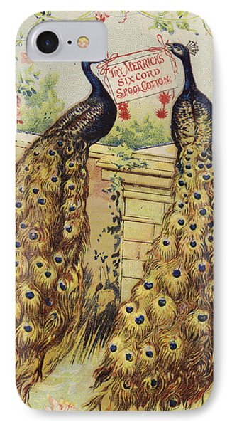 Peacocks Sitting On Wall IPhone Case by American School