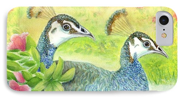 Peahens Strolling In The Garden IPhone Case by Jeanne Kay Juhos