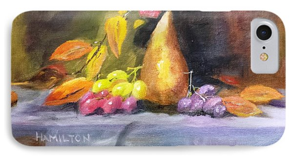 Pear And Grapes Still Life IPhone Case by Larry Hamilton
