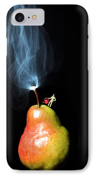 Pear And Smoke Little People On Food IPhone Case by Paul Ge