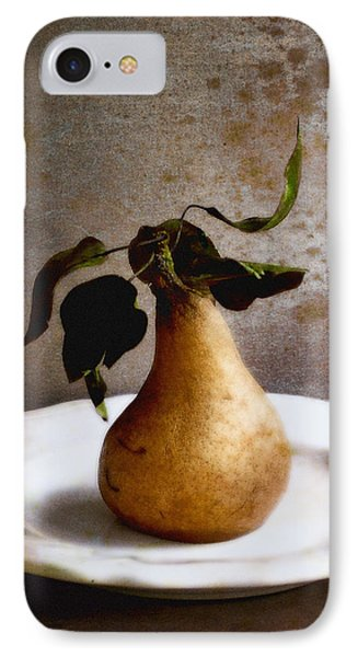 Pear On A White Plate IPhone Case by Louise Kumpf