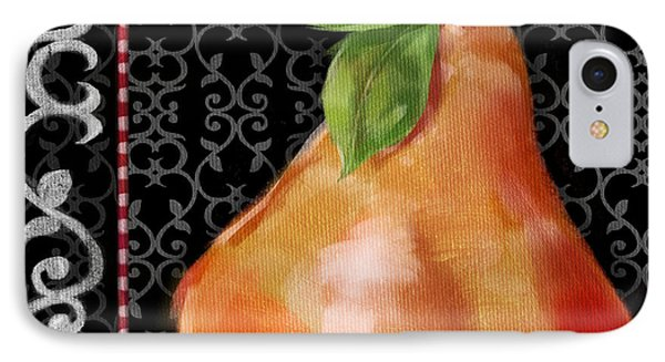 Pear On Black And White Phone Case by Shari Warren