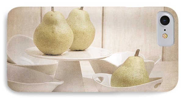 Pear Still Life With White Plates IPhone Case by Edward Fielding