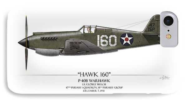 Pearl Harbor P-40 Warhawk - White Background Phone Case by Craig Tinder