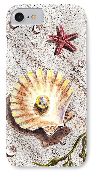 Pearl In The Seashell Sea Star And The Water Drops Phone Case by Irina Sztukowski