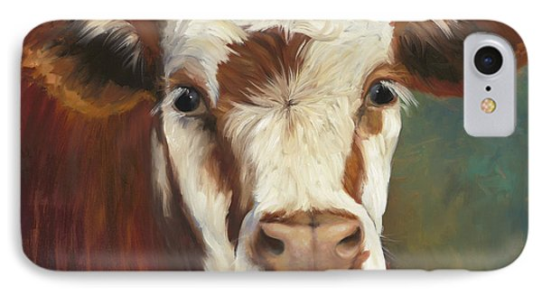 Cow iPhone 7 Case - Pearl Iv Cow Painting by Cheri Wollenberg