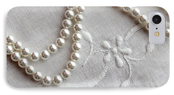 Pearls And Old Linen Phone Case by Barbara Griffin