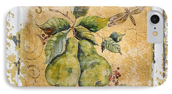 Pears And Dragonfly On Vintage Tin IPhone Case by Jean Plout