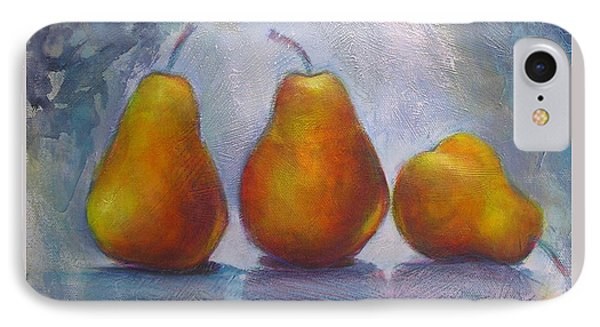 IPhone Case featuring the painting Pears On Blue Original Acrylic Painting by Chris Hobel