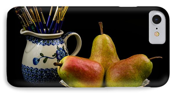 Pears Paintbrushes And Pottery IPhone Case by Jon Woodhams