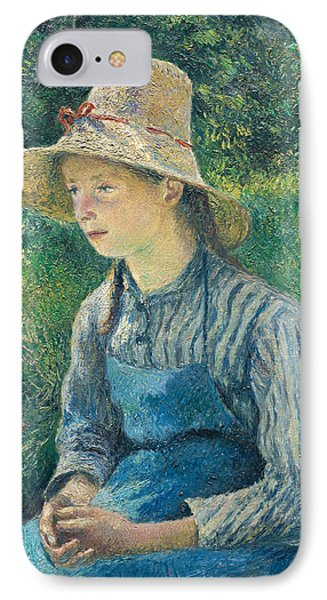 Peasant Girl With A Straw Hat Phone Case by Camille Pissarro