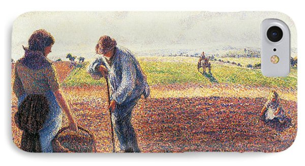 Peasants In The Field Eragny IPhone Case by Camille Pissarro