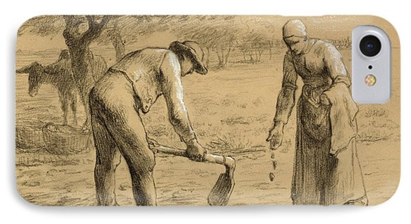 Peasants Planting Potatoes  IPhone Case by Jean-Francois Millet