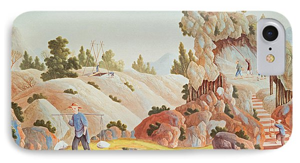 Peasants Quarrying And Collecting Kaolin For A Porcelain Factory IPhone Case by Chinese School