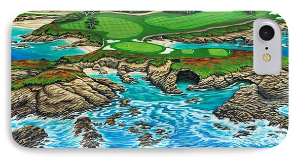 IPhone Case featuring the painting Pebble Beach 15th Hole-north by Jane Girardot