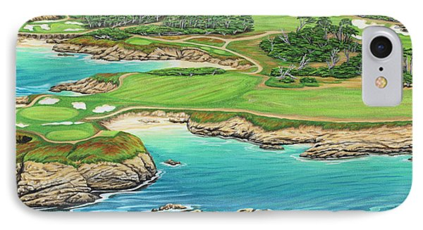 IPhone Case featuring the painting Pebble Beach 15th Hole-south by Jane Girardot