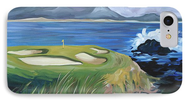 IPhone Case featuring the painting Pebble Beach Scene by Debbie Hart