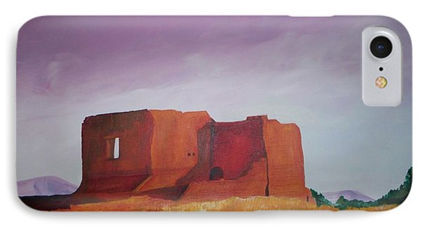IPhone Case featuring the painting Pecos Mission Landscape by Eric  Schiabor
