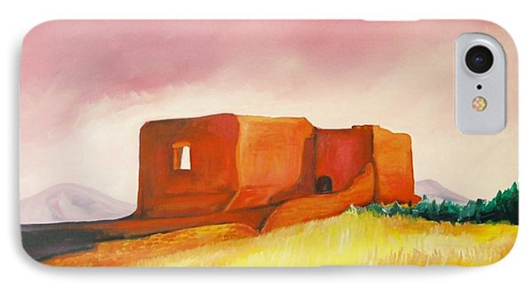 IPhone Case featuring the painting Pecos Mission Nm by Eric  Schiabor