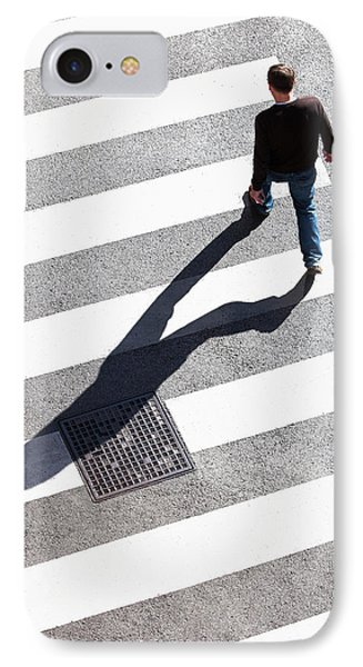 Pedestrain Crossing The Street On Zebra IPhone Case