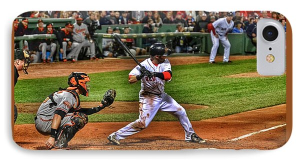 Pedroia At Bat IPhone Case by SoxyGal Photography