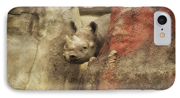 Peek A Boo Rhino IPhone Case by Thomas Woolworth