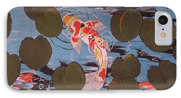 IPhone Case featuring the painting Peeking Koi by Cindy Micklos