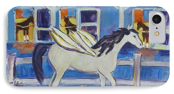 Pegasus At Race Track IPhone Case by Betty Pieper