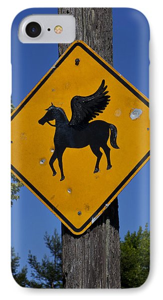 Pegasus Road Sign Phone Case by Garry Gay