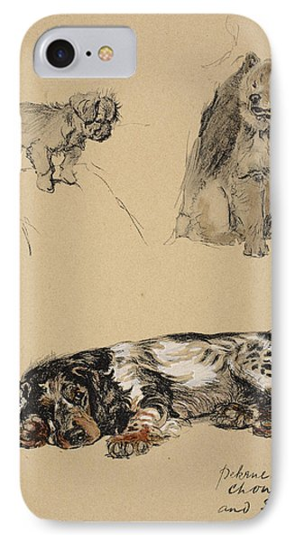 Pekinese, Chow And Spaniel, 1930 IPhone Case by Cecil Charles Windsor Aldin