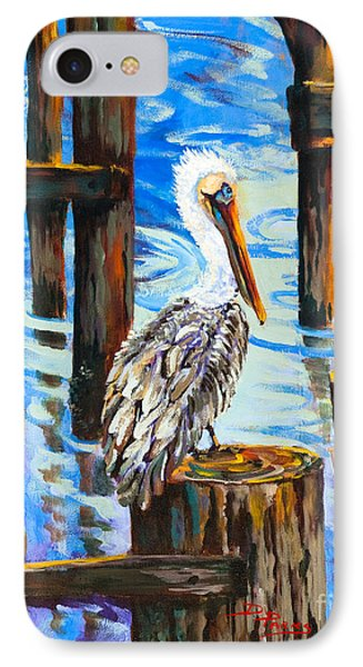 Pelican And Pilings Phone Case by Dianne Parks