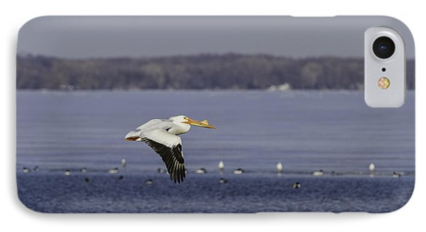Pelican Flying Into Open Water IPhone Case by Thomas Young