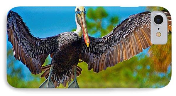 Pelican In Flight IPhone Case by Pamela Blizzard