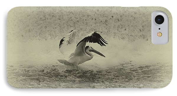 Pelican Landing In Black And White Phone Case by Thomas Young