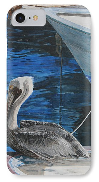 IPhone Case featuring the painting Pelican On A Boat by Ian Donley