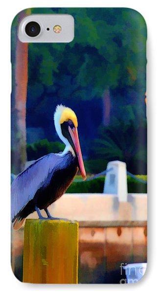 Pelican On Post Artistic Phone Case by Dan Friend