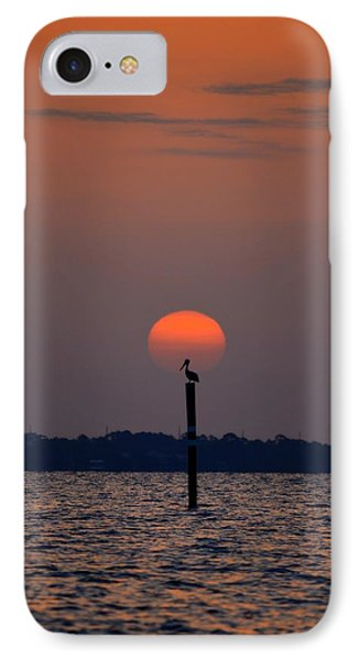 Pelican Sunrise Silhouette On Sound Phone Case by Jeff at JSJ Photography