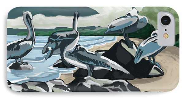 IPhone Case featuring the painting Pelicans And Friends At Seashore by Tim Gilliland