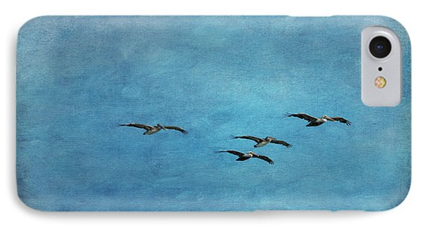 Pelicans In Flight IPhone Case by Mary Jo Allen