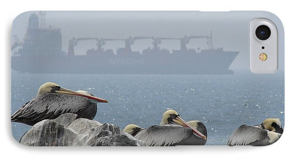 IPhone Case featuring the photograph Pelicans In The Mist by Ramona Johnston