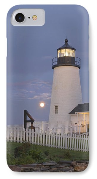 Pemaquid Point Lighthouse And Moon Maine Coast IPhone Case by Keith Webber Jr