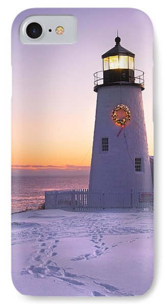 Pemaquid Point Lighthouse Christmas Snow Wreath Maine IPhone Case by Keith Webber Jr
