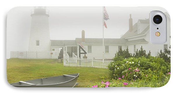 Pemaquid Point Lighthouse In Fog Maine Prints IPhone Case by Keith Webber Jr