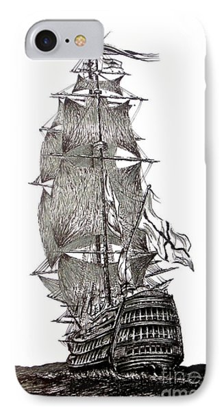 Pen And Ink Drawing Of Sail Ship In Black And White IPhone Case by Mario Perez