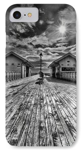 Penarth Pier 2 Monochrome IPhone Case by Steve Purnell
