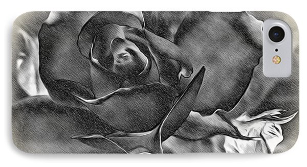 Pencil And Ink Rose IPhone Case by Kaye Menner