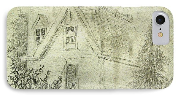 Pencil Sketch Of Old House IPhone Case by Joseph Hawkins